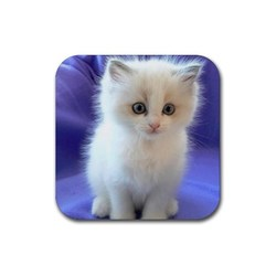 White persian kitten kitty with blue eyes rubber coaster  square