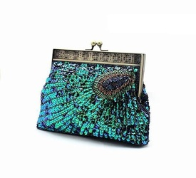 Handmade sequined beading peacock clutch evening party bag free shipping