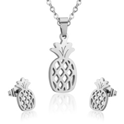 Ll stainless steel pineapple sets unique style gold color pineapple pendant necklace earring for