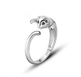 Ping hot sell 100 925 sterling silver unisex cute cat adjustable rings wholesale fashion jewelry
