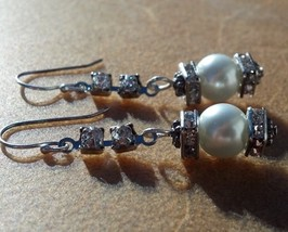 Pearl Rhinestone & Crystal Earrings on Sterling Silver Hooks Hand Made I... - $39.99