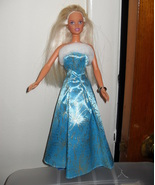 1995 Barbie Doll Wearing Blue and White Dress - $5.99