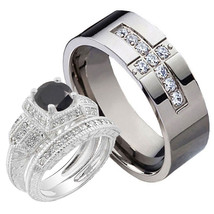 Bride Groom 1.6CT Silver 925 Black Round CZ Titanium Cross CZ 3pcs Ring Set - $47.98