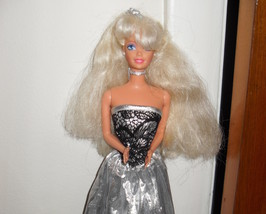 Barbie Doll Wearing Silver and Black Dress - $5.99