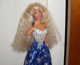 Barbie Doll Wearing White & Blue Dress With Sil... - $5.99