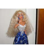 Barbie Doll Wearing White & Blue Dress With Silver Star - $5.99