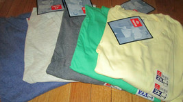 Men's T-Shirt V Neck 2XL Hanes Heavy Weight 6 Pc 4 color 100 % Cotton an... - $27.90