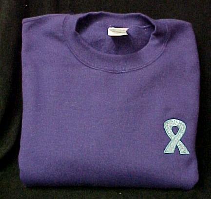 Teal Scrolled Ribbon Sweatshirt M Awareness Crew Neck Purple Unisex Blend New
