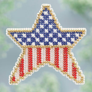 Patriotic Star Spring Bouquet 2013 collection beaded ornament kit Mill Hill