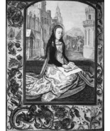 SAINT BARBARA - 1876 ETCHING Print after Painting by Memling - $35.96