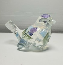 Fenton Glass Bird Figurine White Opalescent Painted Purple Flowers Signed - $58.41