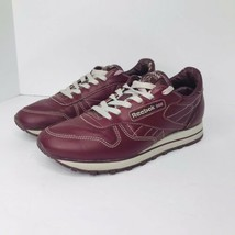 Vintage Reebok Classic Leather Sneakers Women's Size 8.5 Crimson Maroon ... - $34.60