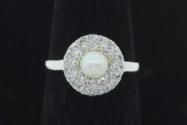 Art Nouveau (ca. 1920) 14K White Gold Platinum Pearl & Diamond Ring (Size 6 3/4) - $690.00