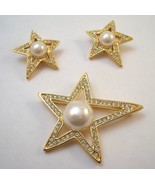 Designer signed Jackie Orr rhinestone star brooch and earrings - $35.00