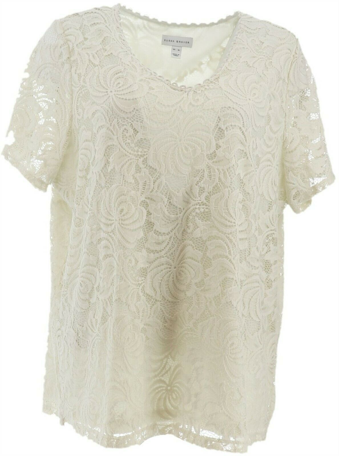 Primary image for Susan Graver Stretch Lace Short-Sleeve V-Neck Top Off-White L NEW A350189