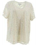 Susan Graver Stretch Lace Short-Sleeve V-Neck Top Off-White L NEW A350189 - $47.50