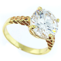 12mm 6.47ct Stone Gold Plated Engagement Wedding Ladies Ring Size 10 - £13.71 GBP