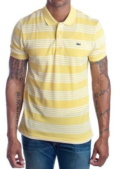 NEW NWT LACOSTE MEN'S PREMIUM SPORT ATHLETIC COTTON POLO SHIRT T-SHIRT YELLOW