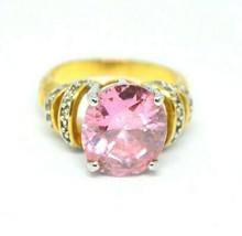 Large Pink Glass Rhinestone Statement Gold Tone Ring Size 9.25 - $29.69