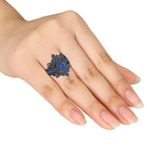 Womens Blue Sapphire 3pcs Engagement Ring Set 14k Black Gold Finish 925 ... - $123.99