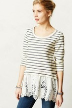 Anthropologie Sunday In Brooklyn East Falls Lace Knit Top Pullover Sweater S - $56.99