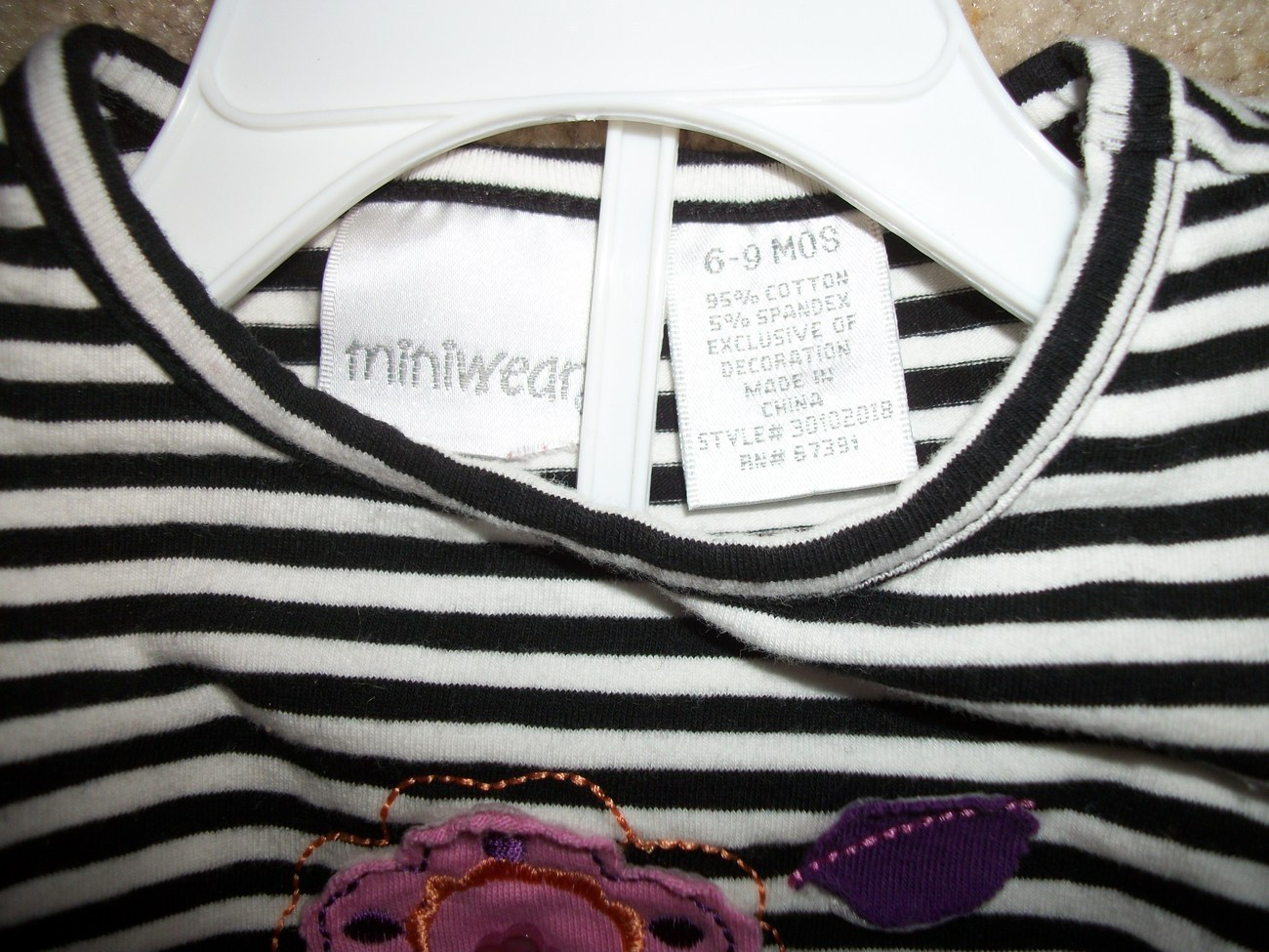 Miniwear Flower Striped Long Sleeve Shirt 6-9 Months
