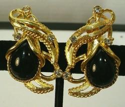 Vintage Barrera for Avon Rhinestone & Black Clip On Earrings - $18.80