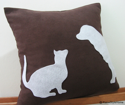 Cat Vs Dog Dark Brown and White Pillow Cover. Pets Lovers - $27.50