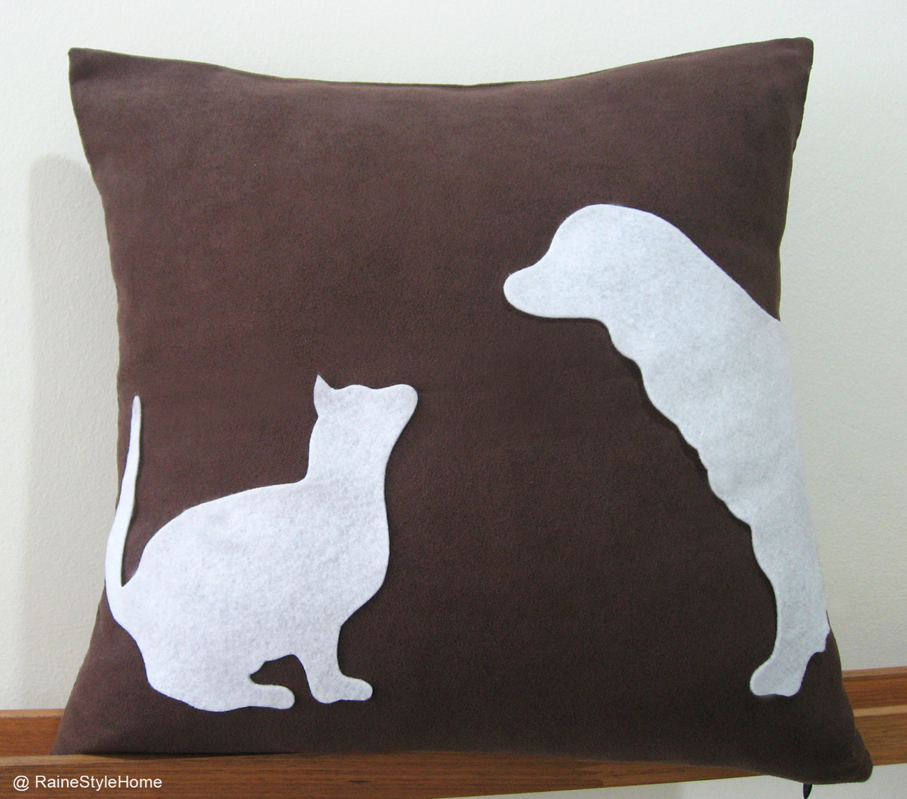 Cat Vs Dog Dark Brown and White Pillow Cover. Pets Lovers
