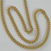 SOLID 18K YELLOW GOLD CHAIN MASSIVE GOURMETTE LINK, FLAT NECKLACE, MADE IN ITALY image 1