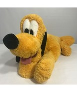 Disney Parks Pluto Plush Laying Down Stuffed Green Collar Approx 17 inches - $19.79