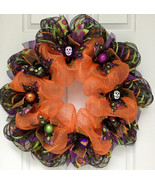 Halloween Wreath With Glittering Ribbon And Ornaments Handmade Deco Mesh - $84.99