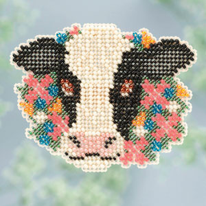 Elsie cow Spring Bouquet 2013 collection beaded ornament kit Mill Hill