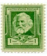 1940 1c Henry W. Longfellow Scott 864 Mint F/VF NH - €1,12 EUR