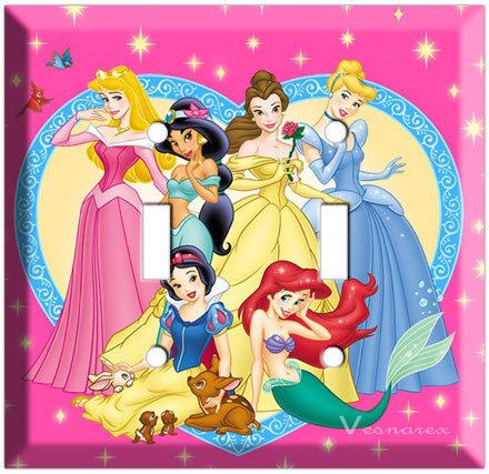 Disney Princess Double Light Switch plate( Cinderella, Snow
