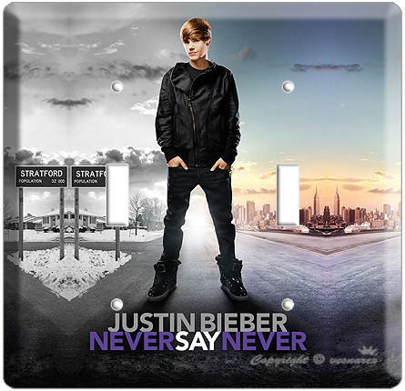 JUSTIN BIEBER NEVER SAY POSTER DOUBLE LIGHT SWITCH COVR