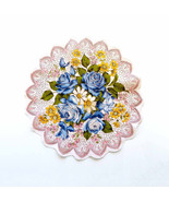 Linen Handkerchief Ring of Blue Roses Yellow White Pink Flowers Faux Lac... - $18.90