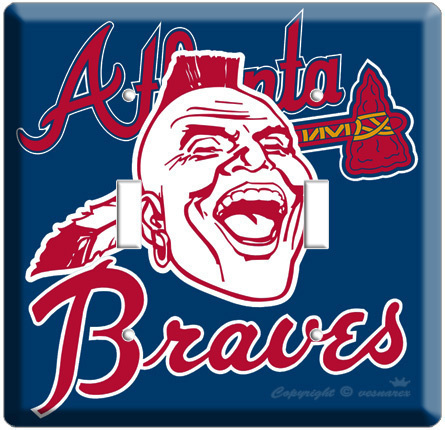 ATLANTA BRAVES MLB BASEBALL DOUBLE LIGHT SWITCH PLATE
