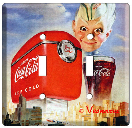 COCA-COLA VINTAGE MAGAZINE AD DOUBLE SWITCH COVER PLATE