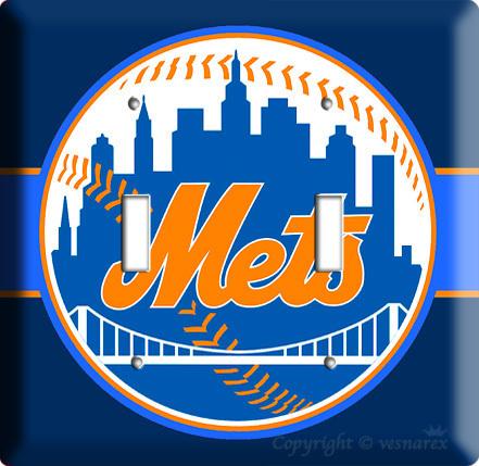 NEW YORK METS NY BASEBALL MLB DOUBLE LIGHT SWITCH PLATE