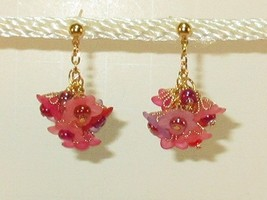 Flower Cluster Petite Red Pink n Purple Earrings Wedding Summer Spring Post HC - $9.41