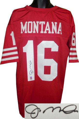 Primary image for Joe Montana signed Red TB Custom Stitched Pro Style Football Jersey XL- Montana