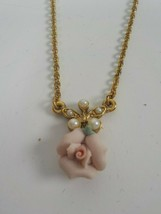 Vintage 1928 Gold Tone Necklace with Porcelain Pink Rose Pendant Pearls - $15.95