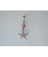 Pink Crystal Belly Button Ring Starfish Dangle ... - $5.00