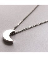 Trendy 3d Silver Moon Charm Fashion Necklace - $12.43