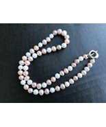 """Knotted Pearl Necklace 18"""" Freshwater Cultured White Pink & Peach Pearls... - $35.00"""
