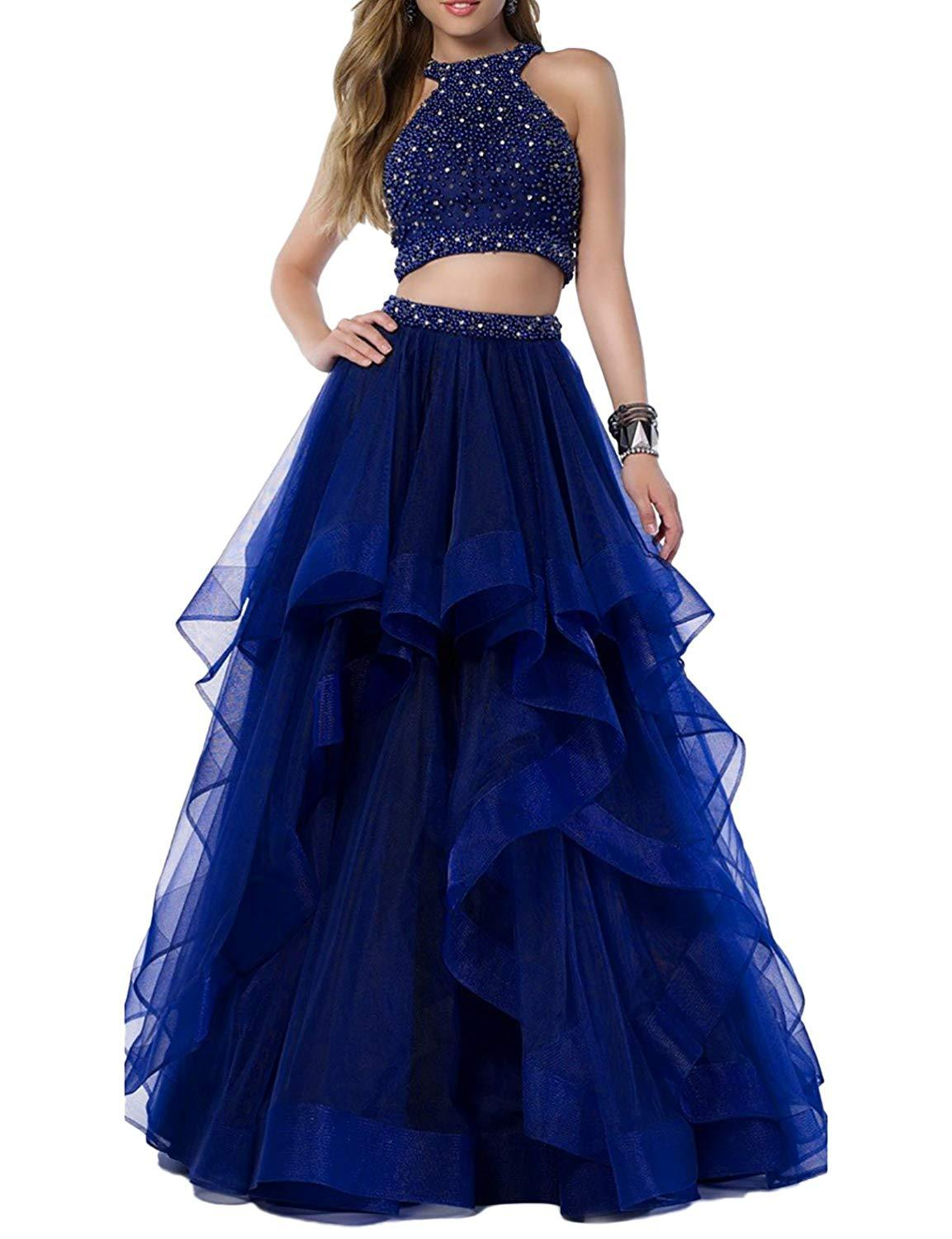 Women Two Piece Beaded Prom Dress Long Homecoming Party Dresses Skirt Ball Gowns