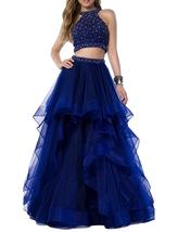 Women Two Piece Beaded Prom Dress Long Homecoming Party Dresses Skirt Ball Gowns - $149.99