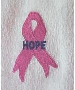 Breast Cancer Awareness Purple Hope Pink Ribbon White Chemo Bath Towel New - $19.57