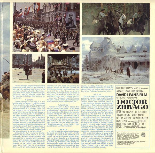 DOCTOR SHIVAGO,THE ORIGINAL SOUND TRACK ALBUM, 1966, MGM image 4